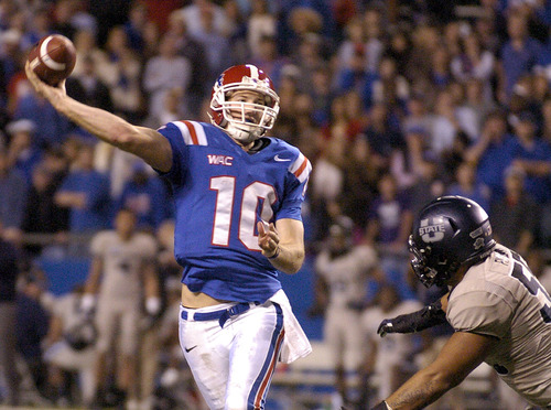 Lousiana Tech quarterback Colby Cameron (10) makes a pass attempt in their 48-41 lost against Utah State during their NCAA college football game  in Ruston, La., Saturday, Nov. 17, 2012. (AP Photo/Kita Wright)