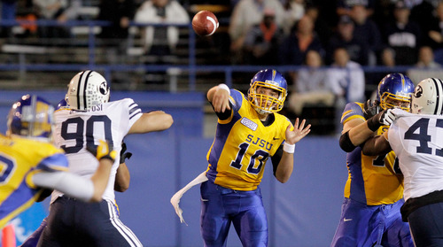 San Jose State quarterback David Fales (10) throws a pass against Brigham Young during the first quarter of an NCAA college football game in San Jose, Calif., Saturday, Nov. 17, 2012. (AP Photo/John Storey)