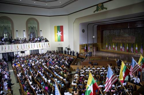 U.S. President Barack Obama speaks at Yangon University in Yangon, Myanmar, Monday, Nov. 19, 2012. This is the first visit to Myanmar by a sitting U.S. president. (AP Photo/Carolyn Kaster)