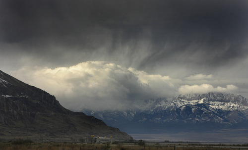 Scott Sommerdorf  |  The Salt Lake Tribune               Storm clouds hang over Saltair on the Great Salt Lake Sunday, November 18, 2012.