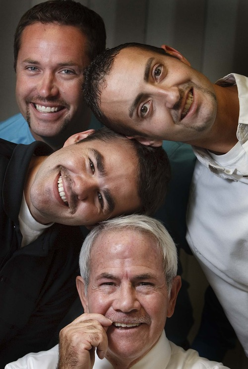 Leah Hogsten  |  The Salt Lake Tribune Larry H. Miler Toyota of Murray employee and Movember organizer Alan Weeks (center) talked 32 guys including John Rasmussen (left), Dave Voyles (top) and Mike Burns (right) into growing their facial hair for charity. The men sport 7 days worth of growth, Thursday, Nov. 8, 2012. Movember is an annual, month-long event involving the growing of moustaches during November to raise awareness of prostate cancer  initiatives involving men's health.