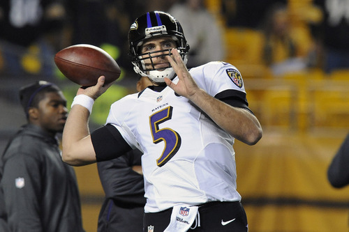 Baltimore Ravens quarterback Joe Flacco (5) warms up before an NFL football game against the Pittsburgh Steelers on Sunday, Nov. 18, 2012, in Pittsburgh. (AP Photo/Don Wright)