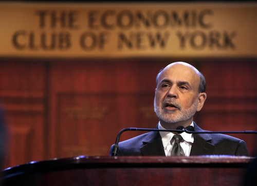 "(AP Photo/Richard Drew) ""If the economy goes off the broad fiscal cliff, I don't think the Fed has the tools to offset that,"" Federal Reserve Chairman Ben Bernanke told a gathering of The Economic Club of New York on Tuesday."