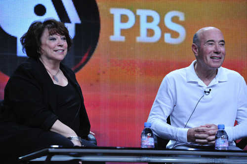"""American Masters"" series creator and executive producer Susan Lacy and David Geffen take questions from TV critics. Courtesy of Rahoul Ghose/PBS"