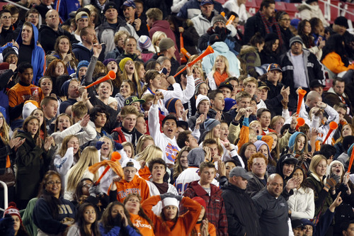 Chris Detrick  |  The Salt Lake Tribune Timpview fans cheer during the first half of the 4A championship game at Rice-Eccles Stadium Friday November 16, 2012. Mountain Crest is winning the game 9-7 at halftime.
