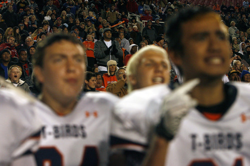 Chris Detrick  |  The Salt Lake Tribune Timpview fans and players watch during overtime of the 4A championship game at Rice-Eccles Stadium Friday November 16, 2012. Timpview defeated Mountain Crest 38-31