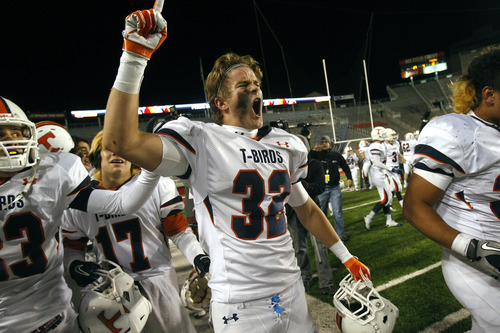 Chris Detrick  |  The Salt Lake Tribune Timpview's Braydon Galland (32) after winning the 4A championship game at Rice-Eccles Stadium Friday November 16, 2012. Timpview defeated Mountain Crest 38-31