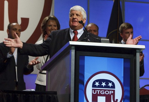 Leah Hogsten  |  Tribune file photo Rep. Rob Bishop is shown here accepting his party's nomination for the 1st Congressional District last April. Newly disclosed records indicate Bishop's chief of staff was lobbying for more of Republican Davis County in his district, and less of Democratic-leanning Salt Lake County.