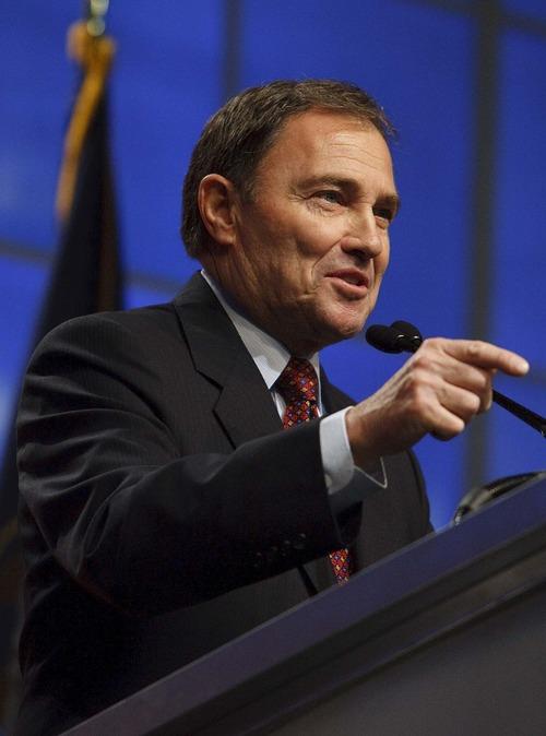Leah Hogsten  |  Tribune file photo Utah Gov. Gary Herbert during the Utah Republican Party  nominating convention in April.