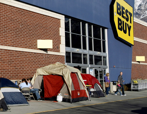 Rick Egan  | The Salt Lake Tribune   Tents are already lined up in front of the Best Buy in Orem, where people are waiting for the big Black Friday sale midnight on Thursday.  Monday, November 19, 2012.
