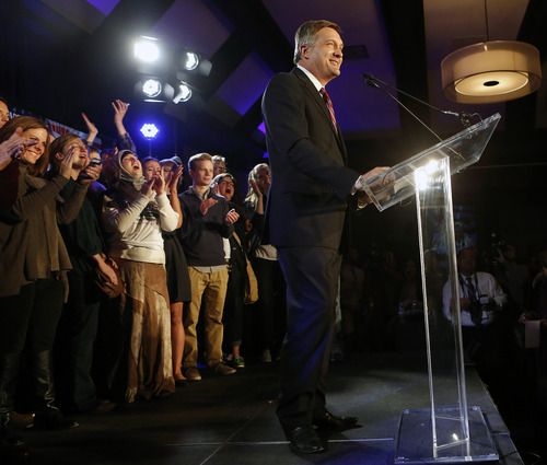 Utah congressional incumbent Jim Matheson makes remarks during the democrat's election night watch party Tuesday, Nov. 6, 2012, in Salt Lake City.  (AP Photo/Jim Urquhart)
