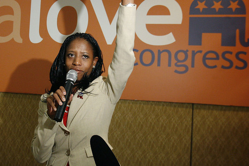 Scott Sommerdorf  |  The Salt Lake Tribune               4th Congressional candidate Mia Love speaks to supporters at the GOP headquarters at the Hilton Hotel in Salt Lake City, Tuesday, November 6, 2012, Tuesday, November 6, 2012