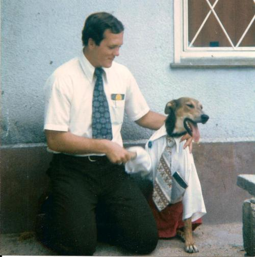 Elder Brent Merrell of Vernal, UT, with Lurch. San Jose de Carrasco, Uruguay, 1975.