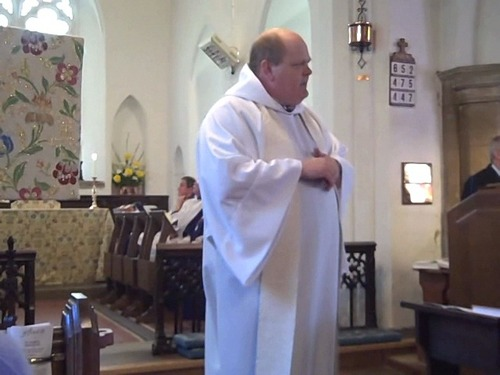 The Rev. Michael Mayor preaches at St. Peter's Church (Church of England) in Cringleford (a town near Norwich). Courtesy Michael Mayor