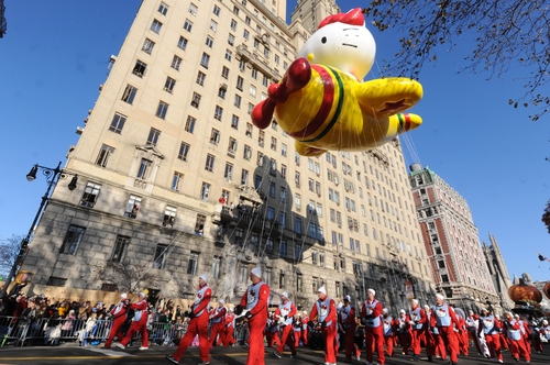 The Hello Kitty Balloon makes it's way down New York's Central Park West in the 86th annual Macy's Thanksgiving Day Parade,Thursday, Nov 22, 2012. (AP Photo/ Louis Lanzano)