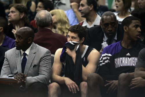 Kim Raff | The Salt Lake Tribune Kings player Jimmer Fredette sits on the bench during his second home town appearance against the Jazz during a game at EnergySolutions Arena in Salt Lake City, Utah on March 30, 2012. The Jazz went on to lose the game 103-104.