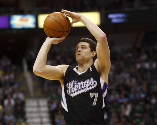 Trent Nelson  |  The Salt Lake Tribune Sacramento's Jimmer Fredette shoots the ball in the first quarter of game against the Utah Jazz Saturday at the EnergySolutions Arena in Salt Lake City. The Jazz downed the Kings, 96-93.