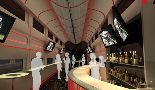 """This undated artistic rendering provided by Las Vegas Railway Express shows the interior of the X Train, a proposed luxury """"party train"""" that would run from Fullerton, Calif., to downtown Las Vegas. For $99 each way, passengers would get food, drinks, access to two on-board """"ultra lounges"""" and other amenities. The company signed an agreement last week with Union Pacific Railroad allowing them to use a set of tracks that leads to downtown Las Vegas but hasn't seen passenger traffic in 15 years."""" (AP Photo/Las Vegas Railway Express)"""