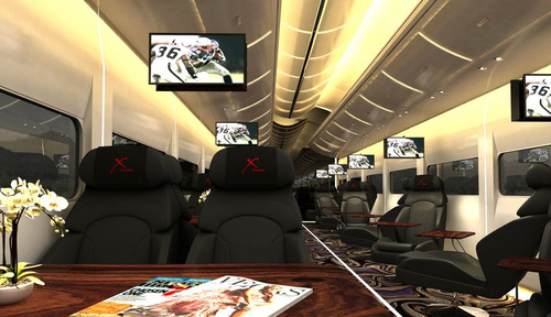 """This undated artistic rendering provided by Las Vegas Railway Express shows the interior of the X Train, a proposed luxury Òparty train that would run from Fullerton, Calif., to downtown Las Vegas. For $99 each way, passengers would get food, drinks, access to two on-board """"ultra lounges"""" and other amenities. The company signed an agreement last week with Union Pacific Railroad allowing them to use a set of tracks that leads to downtown Las Vegas but hasn't seen passenger traffic in 15 years. (AP Photo/Las Vegas Railway Express)"""
