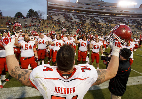 "Trent Nelson  |  The Salt Lake Tribune Utah Utes offensive linesman Sam Brenner (74) leads the team in singing ""Utah Man"" following the win as the Colorado Buffaloes host the University of Utah Utes, college football Friday November 23, 2012 in Boulder."