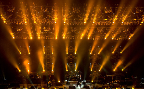 Members of the Trans-Siberian Orchestra perform under a huge light show during their concert at the EnergySolutions Arena in Salt Lake City Nov. 27, 2007. Steve Griffin/The Salt Lake Tribune 11/27/07