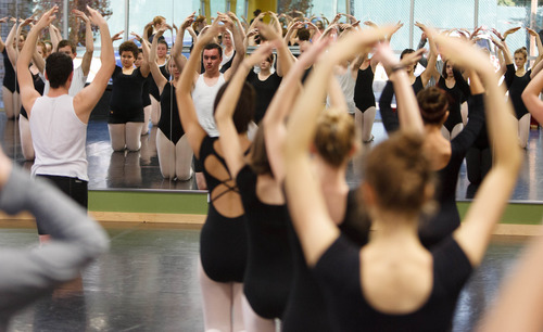 Trent Nelson  |  The Salt Lake Tribune Students in a ballet class at the Pioneer High School for the Performing Arts Tuesday November 13, 2012 in American Fork.