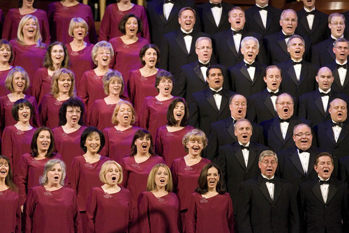 Paul Fraughton | The Salt Lake Tribune The Mormon Tabernacle Choir performs its 2011 Christmas extravaganza at the LDS Conference Center.