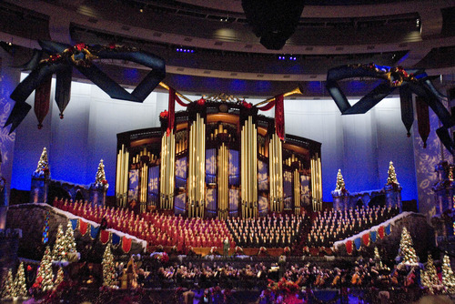 Paul Fraughton | The Salt Lake Tribune The Mormon Tabernacle Choir's 2011 Christmas extravaganza at the LDS Conference Center.