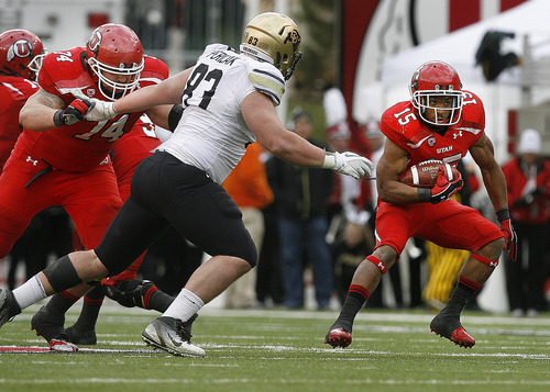 Scott Sommerdorf     The Salt Lake Tribune              As Utah Utes offensive lineman Sam Brenner (74) blocks at left, Utah Utes running back John White IV (15) runs the ball against Colorado during first half play. Brenner later was seriously injured, and taken off the field in an ambulance. Colorado held a 10-0 lead over Utah at the half, Friday, November 25, 2011.