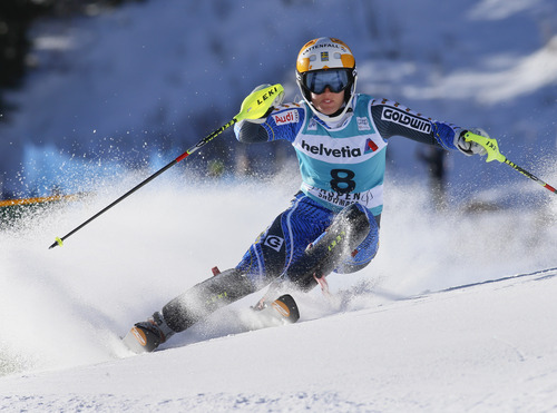 Sweden's Maria Pietilae-Holmner speeds down the course during the women's World Cup slalom ski race in Aspen, Colo., Sunday, Nov. 25, 2012.  (AP Photo/Nathan Bilow)