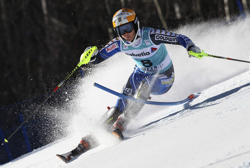 Sweden's Maria Pietilae-Holmner speeds down the course during the women's World Cup slalom ski race in Aspen, Colo., on Sunday, Nov. 25, 2012.  (AP Photo/Alessandro Trovati)