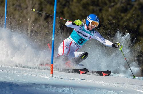 Marlies Schild, of Austria, competes in the women's World Cup slalom ski race in Aspen, Colo., Sunday, Nov. 25, 2012. (AP Photo/Aspen Daily News, Chris Council)