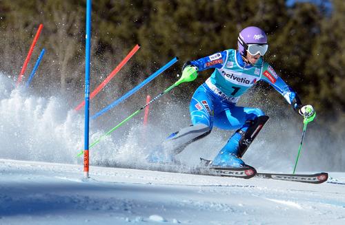 Tina Maze, of Slovenia, competes in the women's World Cup slalom ski race in Aspen, Colo., Sunday, Nov. 25, 2012. (AP Photo/Aspen Daily News, Chris Council)
