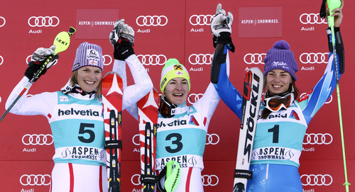 Austria's Kathrin Zettel, center, celebrates her victory with second place finisher Maeles Schild, left, of Austria, and third place finisher Tina Maze, of Slovenia, following a women's World Cup slalom ski race in Aspen, Colo., Sunday, Nov. 25, 2012. (AP Photo/Alessandro Trovati)