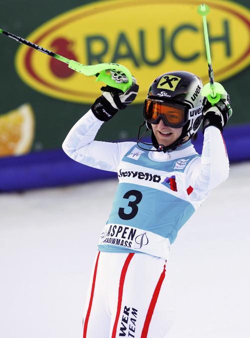 Austria's Kathrin Zettel reacts after winning the women's World Cup slalom ski race in Aspen, Colo., Sunday, Nov. 25, 2012. (AP Photo/Alessandro Trovati)