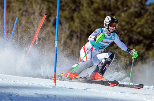 Kathrin Zettel, of Austria, competes in the women's World Cup slalom ski race in Aspen, Colo., Sunday, Nov. 25, 2012. (AP Photo/Aspen Daily News, Chris Council)