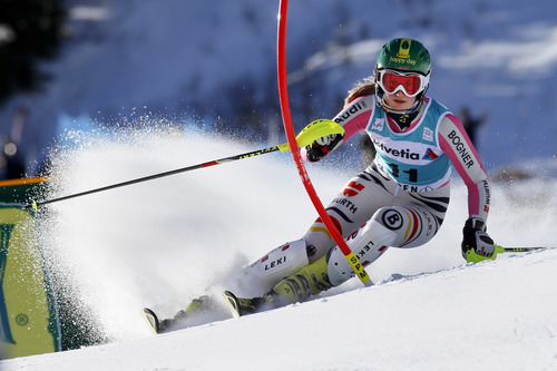 Germany's Lena Duerr speeds down the course during the women's World Cup slalom ski race in Aspen, Colo., Sunday, Nov. 25, 2012. (AP Photo/Nathan Bilow)