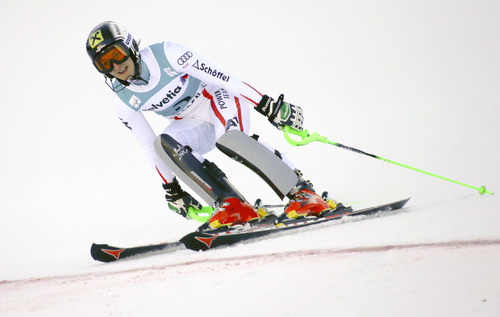 Austria's Kathrin Zettel reacts in the finish arena after winning the women's World Cup slalom ski race in Aspen, Colo., Sunday, Nov. 25, 2012. (AP Photo/Nathan Bilow)