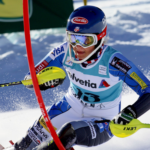 Mikaela Shiffrin speeds down the course during the women's World Cup slalom ski race in Aspen, Colo., Sunday, Nov. 25, 2012. (AP Photo/Nathan Bilow)