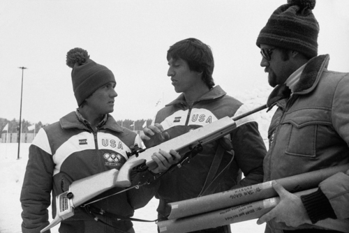 Associated Press U.S. Biathlon Olympic entries Peter Hoag, left, Minneapolis, Minn., Lyle Nelson, Olympic Valley, Calif., and Martin Hagen, Jackson, Wyo., engaged in an experts discussion outside the Olympic village onFeb. 12, 1980, in Lake Placid after practice for the Olympic events.