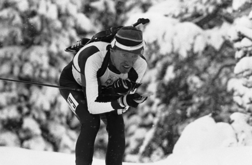 Lyle Nelson of California placed 26th and became the best placed American in the Olympic Winter Games' 20-kilometer biathlon at Igman Veliko Polje in Sarajevo, Feb. 11, 1984.  AP photo/Tom Smart