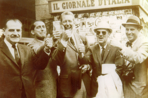 Courtesy | John W. Gallivan Gamesman in 1966, Utahns attended an IOC meeting in Rome to pitch the idea of holding the Olympic Games in Utah. Gov. Calvin Rampton took this photo of John W. Gallivan, left, Dan Jennings, Gene Donovan, Max Rich and Walker Wallace.