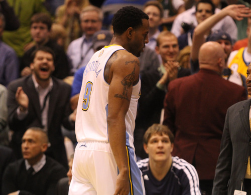 Rick Egan  | The Salt Lake Tribune   Utah Jazz fans heckle Denver Nuggets shooting guard Andre Iguodala (9) as she leaves the court after being ejected from the game, in NBA action, in Salt Lake City, Monday, November 26, 2012.