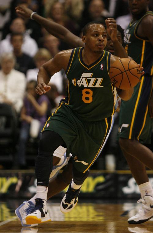 Rick Egan  | The Salt Lake Tribune   Utah Jazz point guard Randy Foye (8) brings the ball down court on a fast break. Utah defeated Denver 105-103 in NBA action, in Salt Lake City, Monday, November 26, 2012.