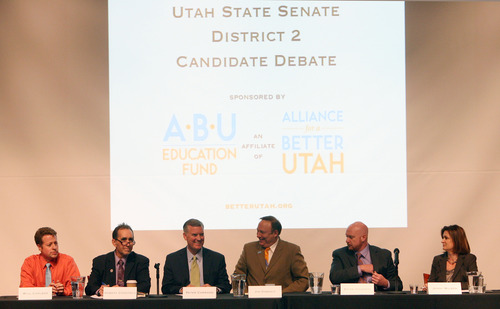 Steve Griffin | The Salt Lake Tribune   Candidates to replace Salt Lake County Mayor-elect Ben McAdams in the state Senate, District 2, sit down to a debate at the Utah Museum of Fine Arts, Dumke Auditorium in Salt Lake City, Utah Tuesday November 27, 2012. The candidates were Will Carlson, Robert Comstock,  Peter Corroon, Jim Dabakis, Brian Doughty and Jenny WIlson.