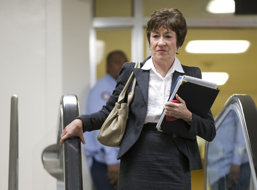 Sen. Susan Collins, R-Maine, ranking Republican on the Senate Homeland Security and Governmental Affairs Committee walks to a meeting on Capitol Hill in Washington, Wednesday, Nov. 28, 2012, for a meeting with UN Ambassador Susan Rice. Rice continued her fight Wednesday to win over skeptics in the Senate who could block her chances at becoming the next U.S. secretary of state, while Republican lawmakers said they were even more troubled after face-to-face meetings with her over the handling of the Sept. 11 deadly attack on the U.S. Consulate in Benghazi, Libya.  (AP Photo/ Evan Vucci)