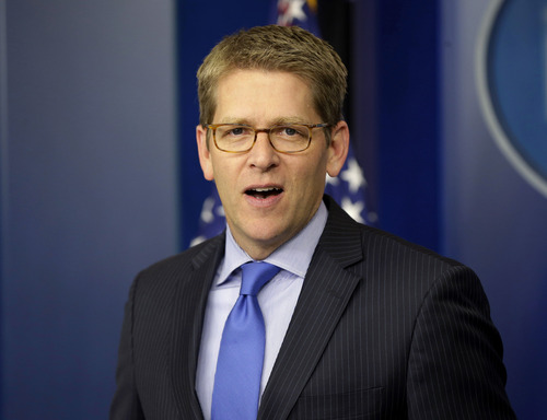 "In this Nov. 27, 2012, photo, White House press secretary Jay Carney speaks during his daily news briefing at the White House in Washington. Senate Democrats are deeply divided over whether cuts to popular benefit programs like Medicare and Medicaid should be part of a plan to address the nation's financial problems, raising a big obstacle to an agreement to avoid the fiscal cliff, even if Republicans agree to raise taxes. Much of the focus during budget negotiations has centered on whether congressional Republicans would agree to raise taxes in exchange for spending cuts. ""It is the president's position that when we're talking about a broad, balanced approach to dealing with our fiscal challenges, that that includes dealing with entitlements,"" Carney said Tuesday. (AP Photo/Pablo Martinez Monsivais)"