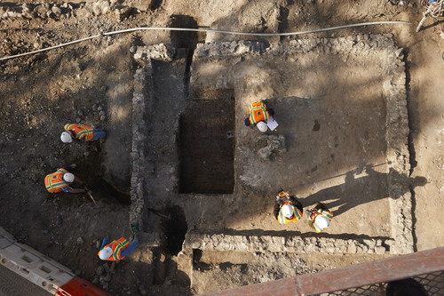 Courtesy Photo | LDS Public Affairs   Archaeologists examine the remains of a baptistry near the Provo City Center Temple site. The baptistry was one of the earliest places to perform baptisms indoor in Utah County.