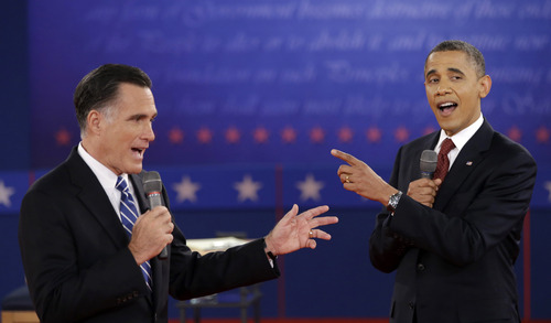 FILE - In this Oct. 16, 2012 file photo, President Barack Obama and Republican presidential candidate, former Massachusetts Gov. Mitt Romney exchange views during the second presidential debate at Hofstra University in Hempstead, N.Y. President Barack Obama will host his former political rival Mitt Romney for a private lunch at the White House Thursday, Nov. 29, 2012, their first meeting since the election.  (AP Photo/David Goldman, File)