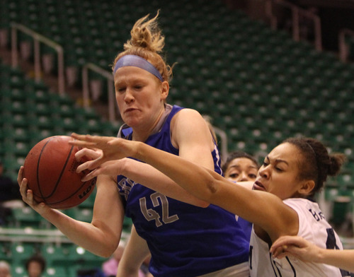 Rick Egan  | The Salt Lake Tribune   Brigham Young Cougars forward Morgan Bailey (41) goes after a rebound along with Creighton Bluejays forward Sarah Nelson (42) in basketball action, BYU vs. Creighton, at EnergySolutions Arena,  Wednesday, November 28, 2012.